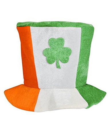 Saint Patrick's Day Plush Irish Flag Top Hat With Shamrock Costume Accessory