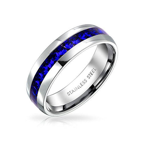 Bling Jewelry Simulated Sapphire Crystal Eternity Ring Steel
