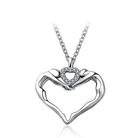 "GEORGE SMITH ""Hand-in-Hand""925 Sterling Silver Heart Shaped Pendant Enhancer Necklace for Women"