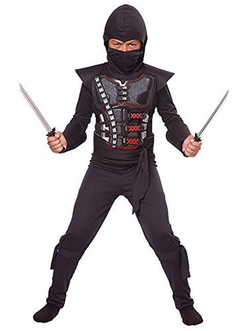 California Costumes Child Stealth Ninja Battle Armor Kit,Black/Silver/Red,One Size
