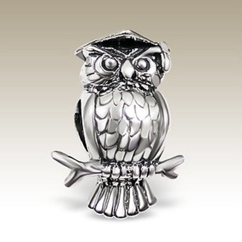 Owl Bead Charm, Owl Graduation , 925 Sterling Silver Pandora Compatible (E5734)