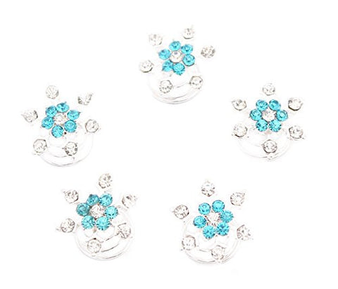 Turquoise Blue and Clear Frozen Snowflakes Rhinestones Hair Clip Jewelry 5pcs Set