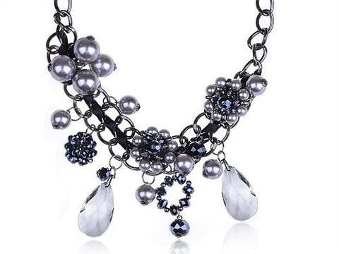 Alilang Soho Village Grunge Style Frosted Crystal Beads Tear Drop Flower Choker Necklace