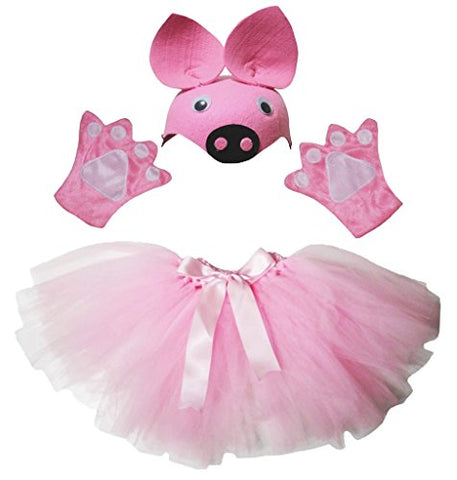 Petitebella Pink Pig Hat Gloves Skirt Girl Children 3pc Costume Accessory (One Size)