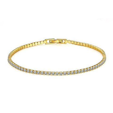 FENDINA Womens Classic 18K Gold Plated Thin Cubic Zirconia Tennis Bracelets