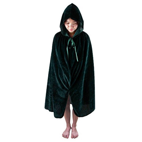 "Samtree Christmas Halloween Costumes Cape for Kids,Velvet Hooded Cosplay Party Cloak (M(Length:31.5""),Green)"