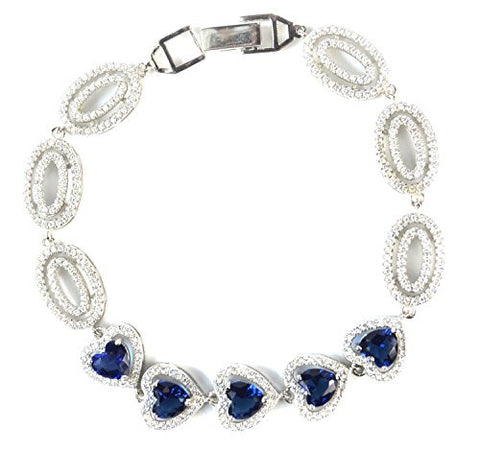 Elensan Heart Shape Create Sapphire 925 Sterling Silver with Cubic Zirconia Bracelet for Women