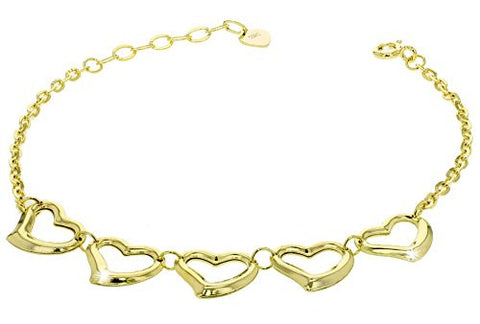 "Sterling Silver Five Floating Hearts Bracelet 6+1"" Extender (yellow-gold-plated-silver)"