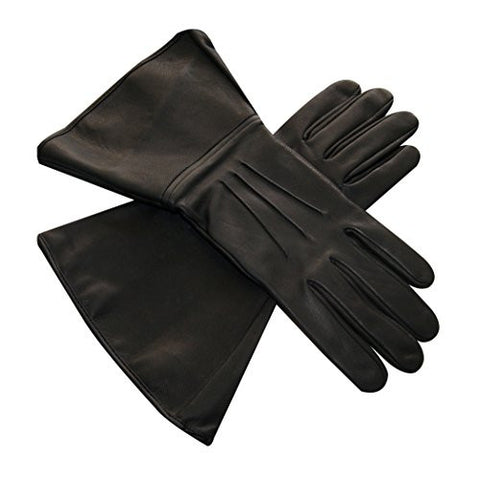 Black Gauntlet Real Leather 501st Approved Gloves with Three Darts (S-8)