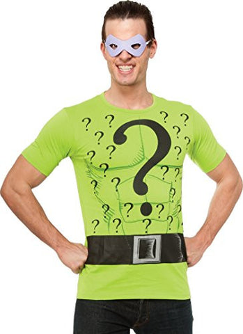 Rubie's DC Comics Justice League Superhero Style Adult Top and Mask The Riddler, Green, Medium