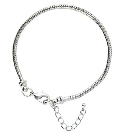 "European 8"" Snake Chain Starter Bracelet for Large Hole Beads ~ Twist Off End"