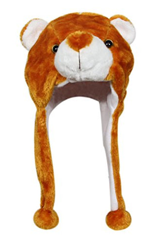 Bioterti Plush Fun Animal Hats –One Size Cap - 100% Polyester With Fleece Lining (Brown Bear-2)
