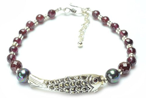 Elegant Sterling Silver Marcasite Fish and Garnet Pearl Bracelet Silver clasp - Fortune Buddhist Jewelry