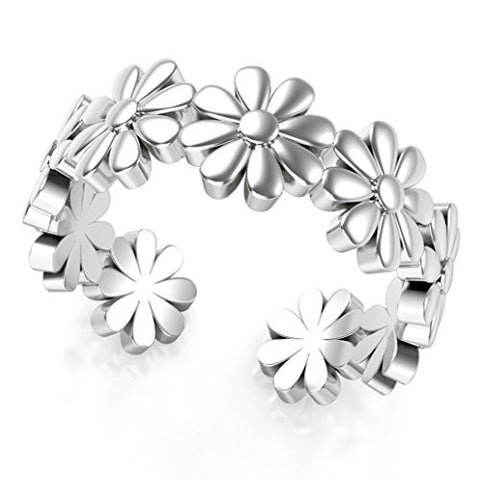Sterling Silver Daisy Flower Adjustable Toe Band Ring
