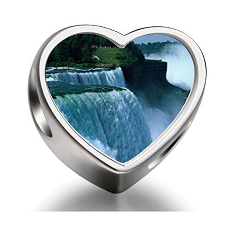 FERVENT LOVE Travel Niagara Falls Heart-shaped Photo Charm Beads for Charm Bracelet