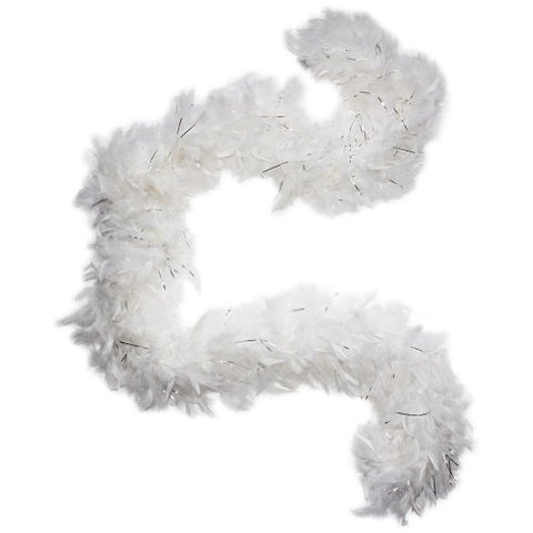 Cynthia's Feathers 100g Chandelle Feather Boa (White/Silver Tinsels)