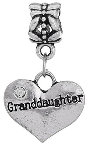 Charm Buddy Granddaughter Heart Pendant Charm Fits Silver Pandora Style Bracelets