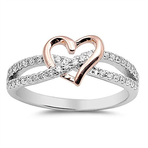 925 Sterling Silver Heart Promise Ring Rose Gold Rhodium PL round clear CZ crisscross engagement Ring