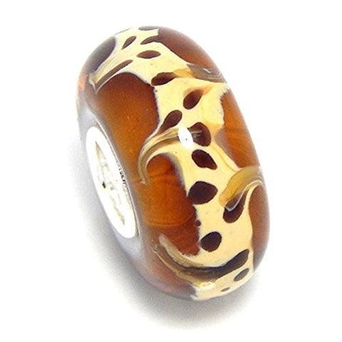 "Solid 925 Sterling Silver ""Brown with Leopard Print Design"" Glass Charm Bead"