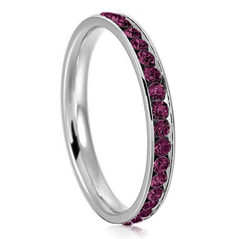 3mm Stainless Steel Eternity Amethyst Color Crystal Stackable Wedding Band Ring, Size 8