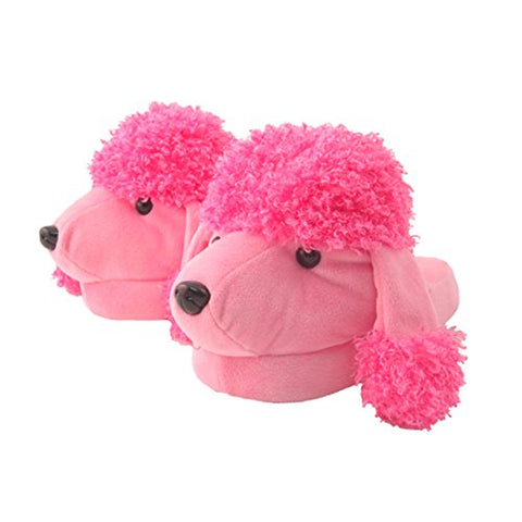 Kid's/Children's Non-Slip Plush Animal Character Slippers (Pink Poodle)
