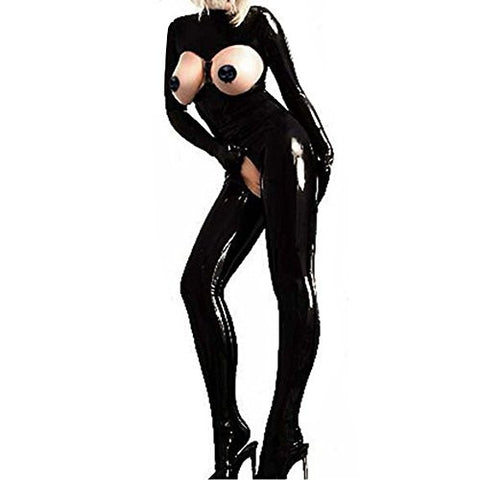 YiZYiF Sexy Catsuit PVC Faux Leather Bodysuit Womens Bodycon Crotchless Clubwear Medium