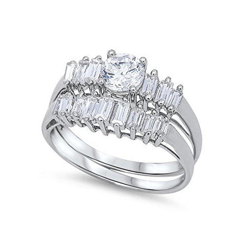 .925 Sterling Silver Baguette Cubic Zirconia Bridal Engagement Wedding Ring Set - Size 10