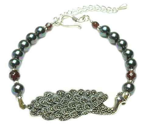 Elegant Sterling Silver Marcasite Peacock Black Pearl Bracelet - Fortune Fashion Jewelry