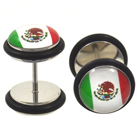 Mexico Flag Fake Plug Steel Earrings Faux Mexican Gauges (00g Look)