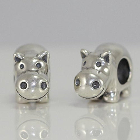 925 Sterling Silver Adorable Happy Hippo Hippopotamus Charm Bead Fits Pandora Biagi Troll Chamilla all Other Charm Bracelets #EC358