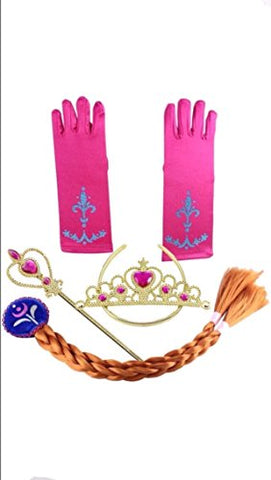 Frozen Inspired Tiara, Wand, Gloves and Braid Set (Gold-Anna)