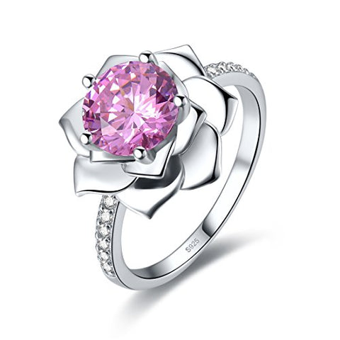 Merthus 2.85ct Pink Topaz Water Lily 925 Sterling Silver Promise Engagement Ring for Women