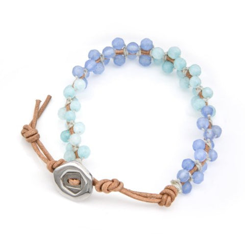 "Wrap Bracelet with Faceted Cut Blue Jade & Aquamarine Beads on Genuine Khaki Leather Strip (adjusted from 7.5 - 9.5"")"