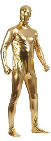 Seeksmile Unisex Matellic Lycra Full Bodysuit Zentai (X-Large, Gold)
