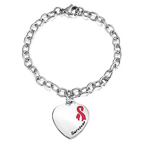 Bling Jewelry Pink Enamel Cancer Survivor Heart Tag Medical ID Bracelet 7.5in Steel Free Engraving