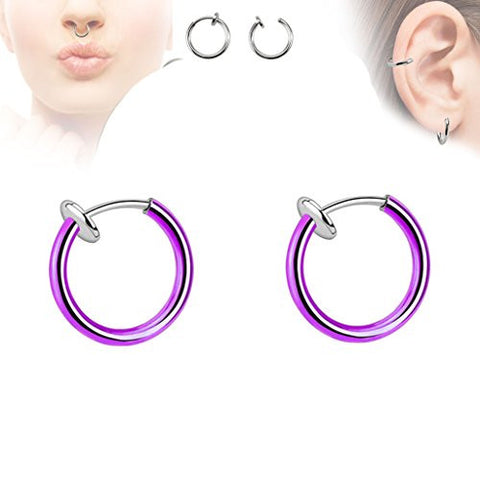 Pair of Purple Titanium Ion Color Spring Action Fake Septum Rhodium Plated Brass Rings Ear Cuff F22