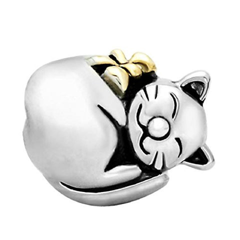 Cat 925 Sterling Silver Animals & Pets Bead Charms Fit Pandora Charm Bracelets (Cute Sleeping Fortune Cat)