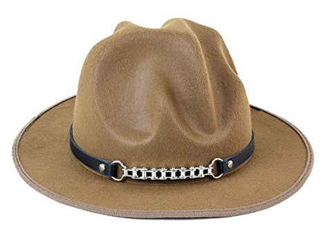 Brown Happy Hat with Leather Bike Chain Band Costume Cowboy Ranger