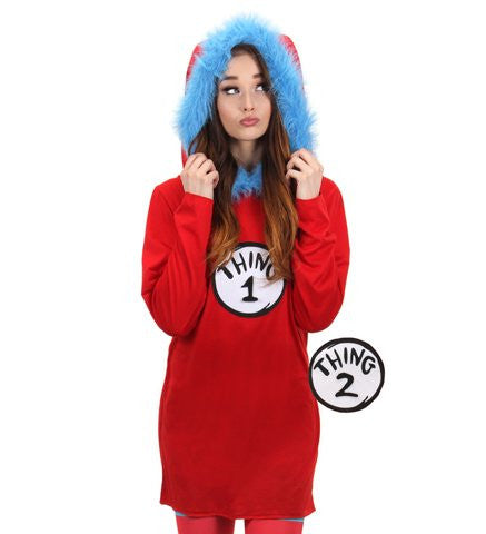 Dr. Seuss Thing 1 or Thing 2 Hooded Dress, Women's (L/XL) by elope