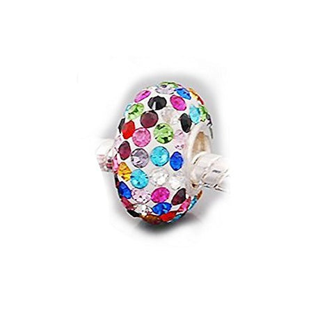 "(One) ""Rhinestone Colored Charm"" Bead Compatible for Most European Snake Chain Bracelets"