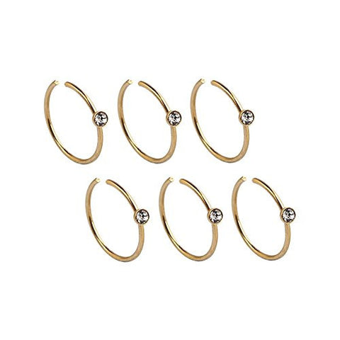 Ruifan 3prs Non Pierced Stainless Steel Clip on Closure Round Ring Fake Nose Lip Helix Cartilage Tragus Ear Hoop With 1.8mm CZ 22G 8mm Gold Plated