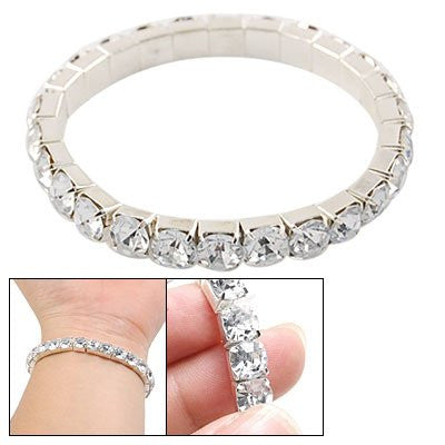 Clear Rhinestone Inlaid Silver Tone Bracelet for Ladies