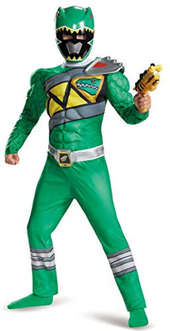 Disguise Green Ranger Dino Charge Classic Muscle Costume, Medium (7-8)