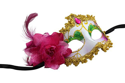 Romantic Disguise Mask with Attractive Embellishments (Neon Pink)