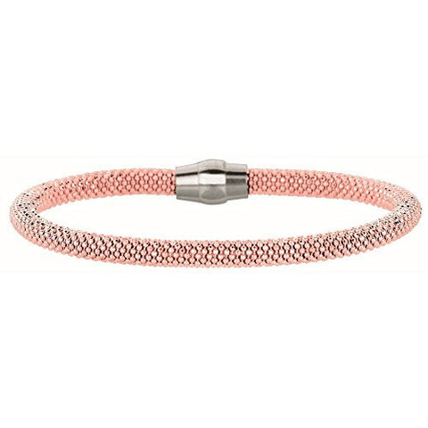 Sterling Silver Color 3mm Rose Gold Plated Dc Beaded Bracelet - 7.5 Inch