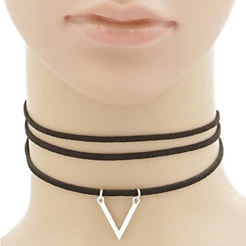 Upside Down Triangle Pendant 3 Strands Suede Choker Necklace RHODIUM-BLACK