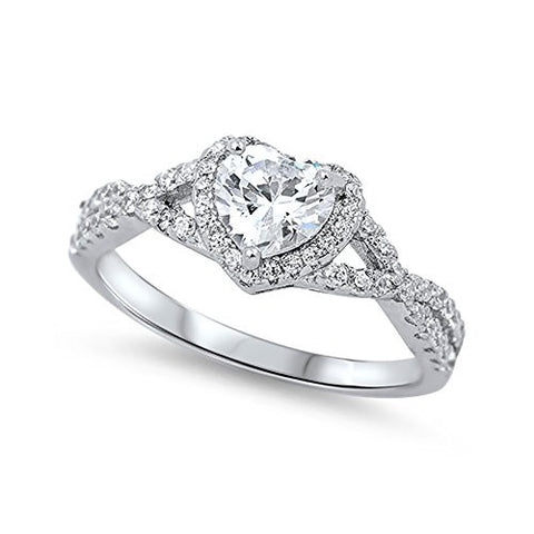 Halo Infinity shank Heart Promise Ring Simulated Cubic Zirconia Round CZ 925 Sterling Silver