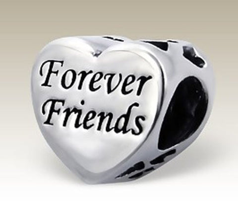 Silver Heart Bead, Forever Friends, Sterling Silver, for Charm Bracelets (E14707)
