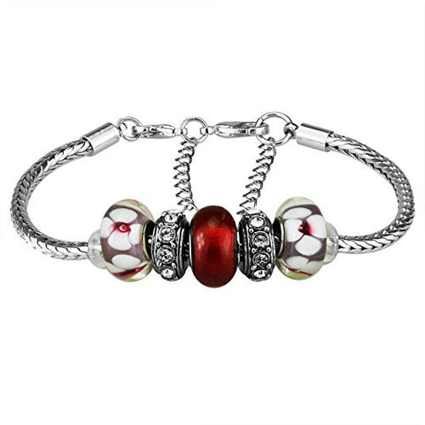 White Birch Charm Bracelets with Charm for Pandora for Women Silver Plated Red 7.5 inch + 3