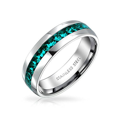 Bling Jewelry Simulated Aquamarine Crystal Eternity Ring Stainless Steel